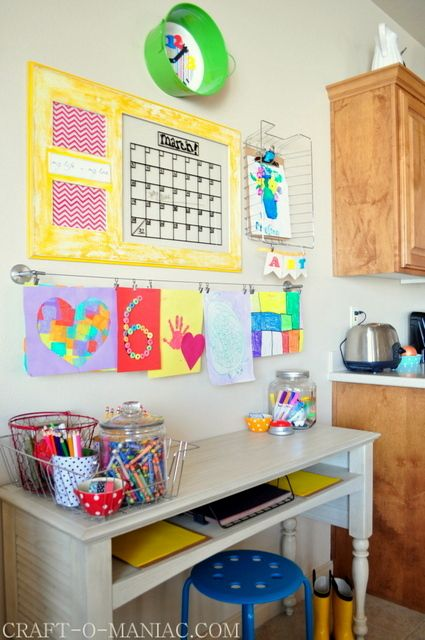 Awesome homework station 5  -  We really love how this homework station is designed to fit right into your kitchen, so you can keep an eye on the kids while making dinner.