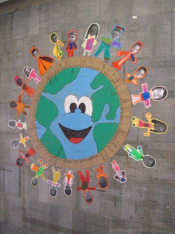 Mural per a treballar la integració. En aquest món hi cabem tots.
