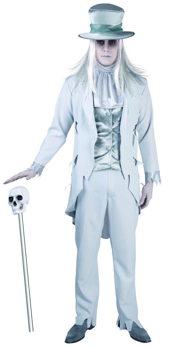 Déguisement marié fantôme adulte : Ce déguisement de marié fantôme se compose d'un pantalon beige avec un élastique, un gilet en velours gris et d'une veste longue beige.Ce costume comprend...