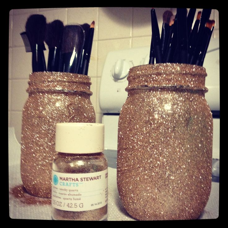 DIY glitter makeup brush holders Handmade Gifts Pinterest