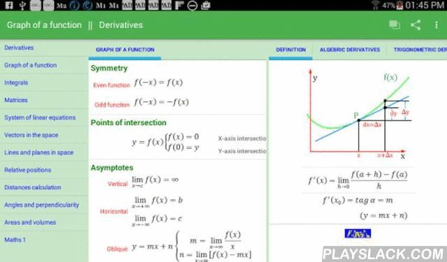 Maths 2  Android App - playslack.com , Full catalog of mathematical formulas at 12th level to help you conducting your daily homework.Easily accessible thanks to its simple navigation and sequence, it's a very useful tool for students, teachers and professionals because, in case of doubt, the formula allows you to confirm before executing.There are no explanations or theoretical summaries are given because are known. Only it's a simple table that seeks its highest power usage through the…