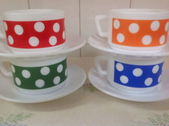 Arcopal Polka Dot coffee set such fantastic colours from Emrys Vintage £25.00 + p&p