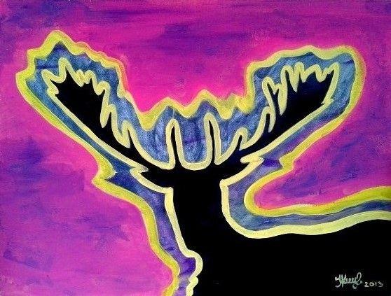 Mystical deer. By Ieva Krivma. Acrylic. 30x40 cm. Pressed cardboard