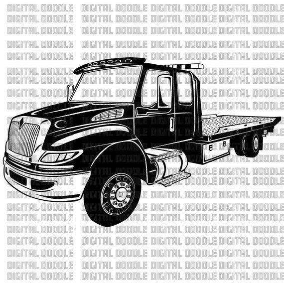 International Tow Truck Svg Rollback Svg Wrecker Clip Art Etsy Tow Truck Towing Trucks