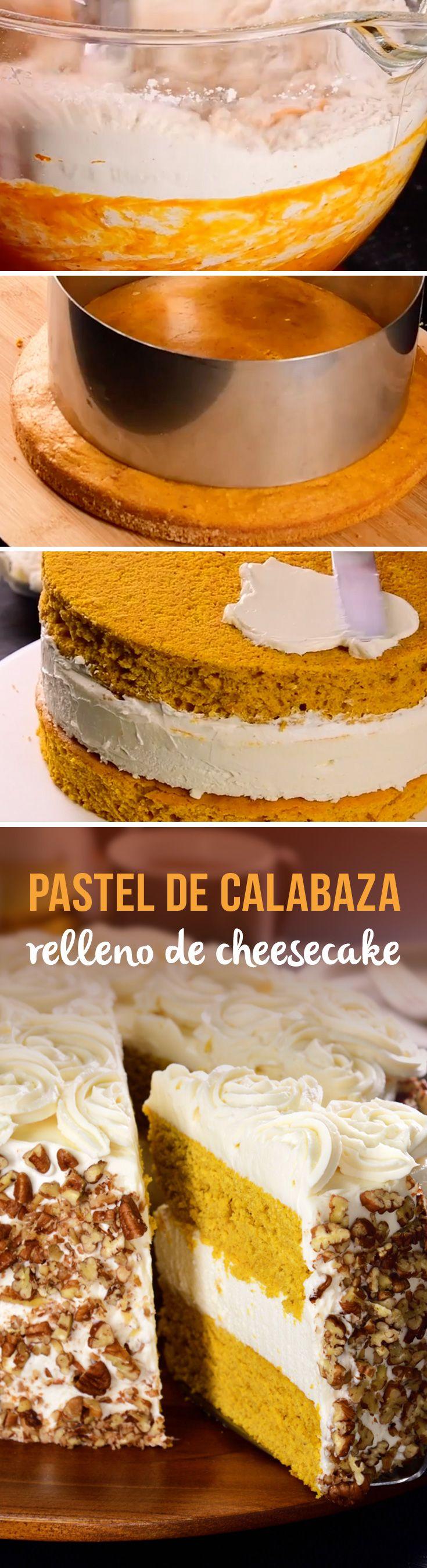 PASTEL DE CALABAZA RELLENO DE CHEESECAKE