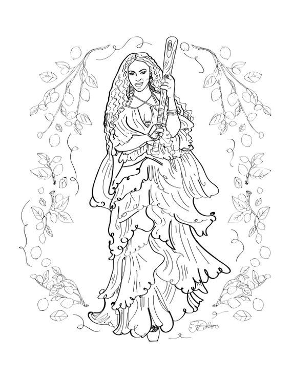 Beyonce Lemonade Adult Coloring Sheet Printable Art Print