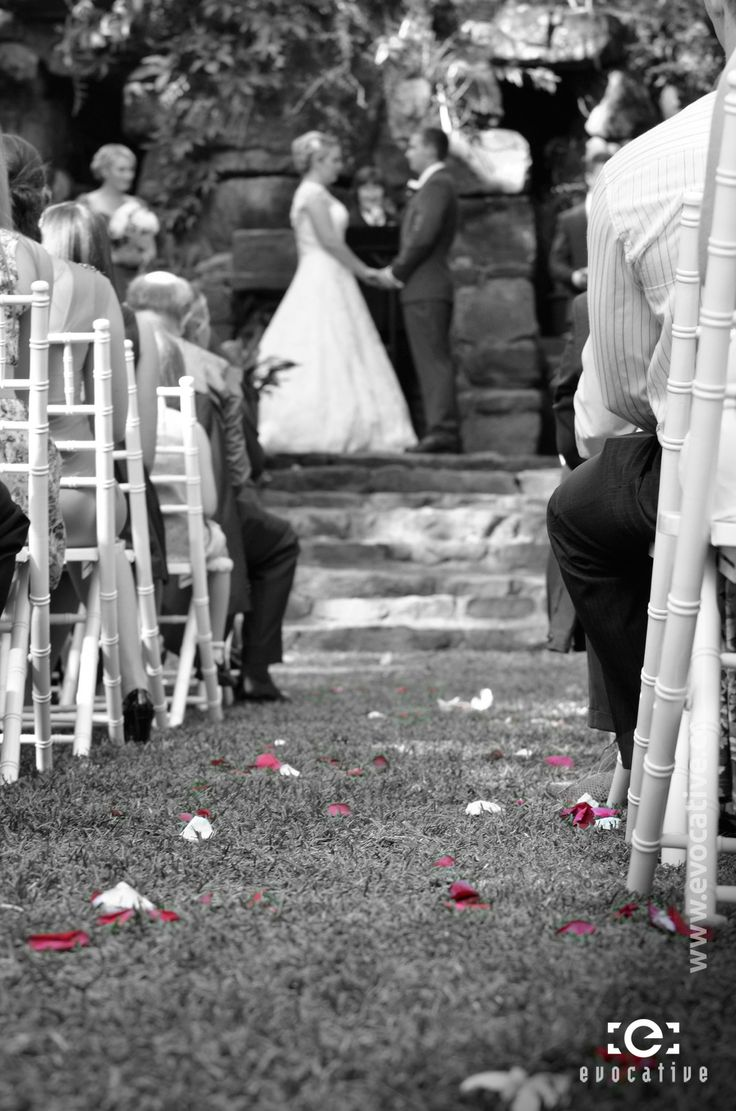 Bride and groom holding hands at the outdoor alter, with coloured flower petals in the foreground, at Woodlands of Marburg. #WeddingPhotography #PinkPetals