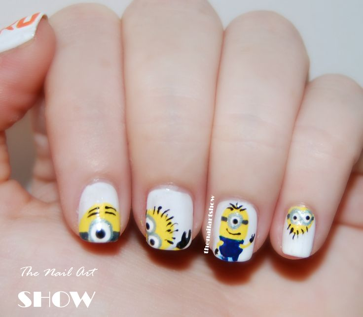 minion nails - remember to get yourself a good set of nail art brushes before you start!