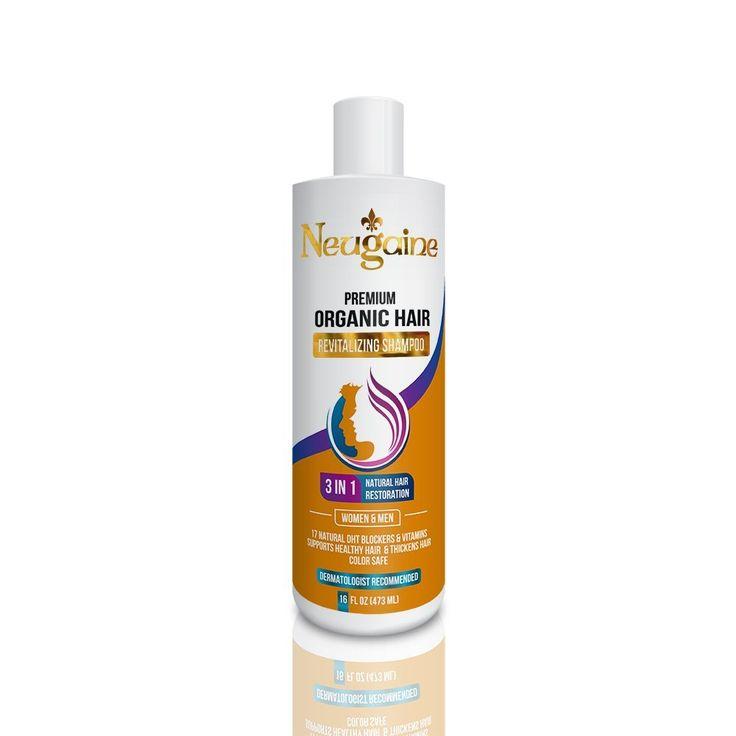 neugaine premium organic hair loss shampoo 3 in 1 16 oz argan oil coconut oil dht blocker natural hair shampoo for men and women to view