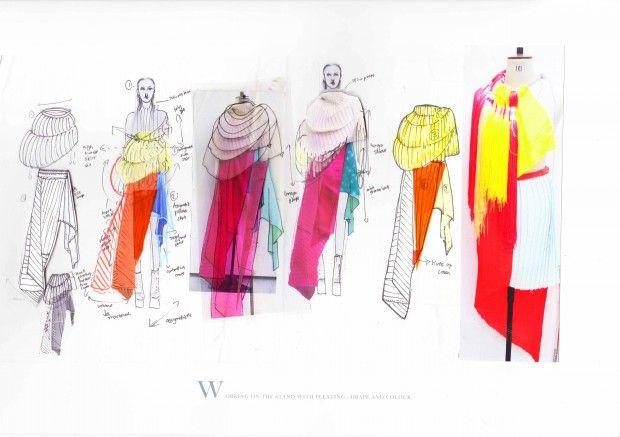 Fashion Sketchbook - fashion design drawings & development: drape & bright colours; fashion design portfolio