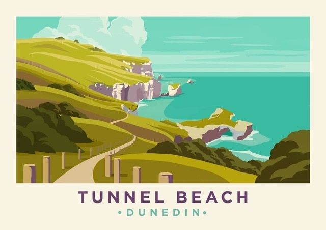 New Zealand Nz Dunedin Tunnel Beach Travel Classic Wall Sticker Canvas Paintings Decorative Vintage Poster Home B Wall Stickers Vintage Dunedin Vintage Posters