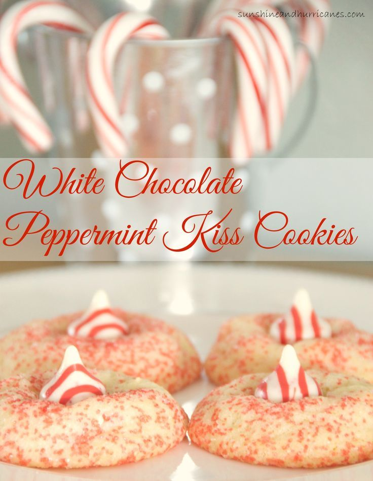 Looking for an irresistible Christmas cookie recipe to add a little something sweet to your holiday season? These White Chocolate Peppermint Kiss Cookies are so good, you'll never be able to eat just one. sunshineandhurricanes.com