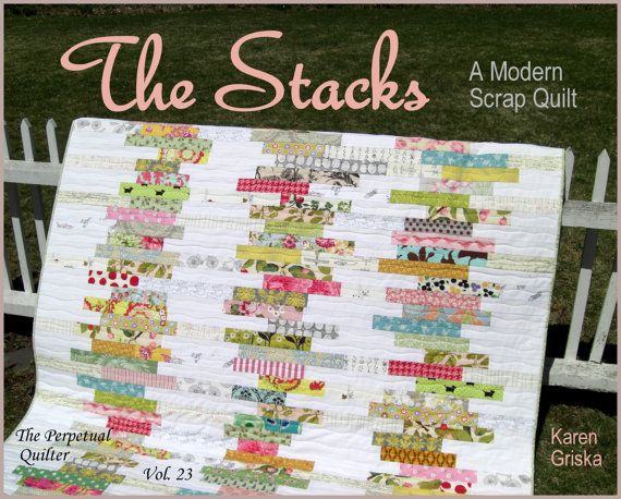 The Stacks Quilt Pattern, Modern Scrap Quilt Pattern, Easy Quilt, PDF, Immediate Download, qtm