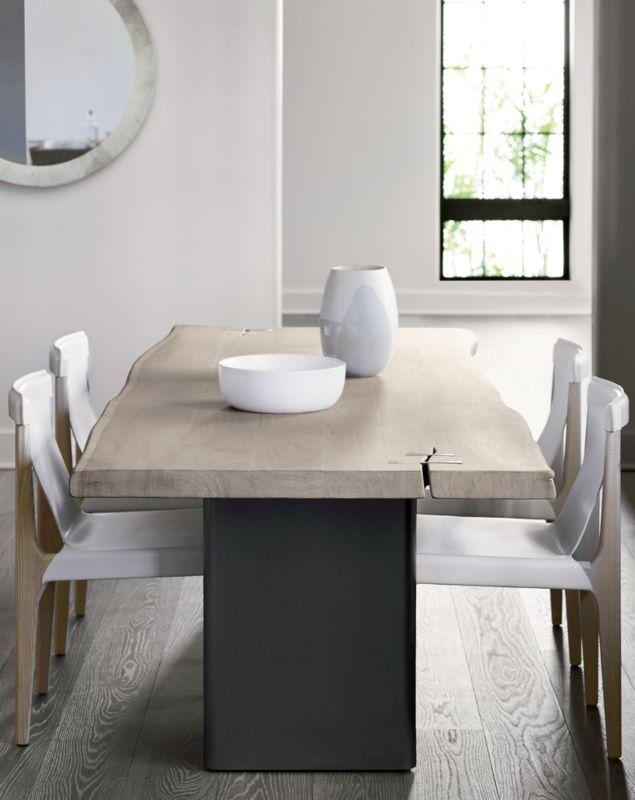 Landscape Live Edge White Washed Wood Dining Table Reviews Cb2 Minimalist Dining Room Modern Dining Room Dining Room Design