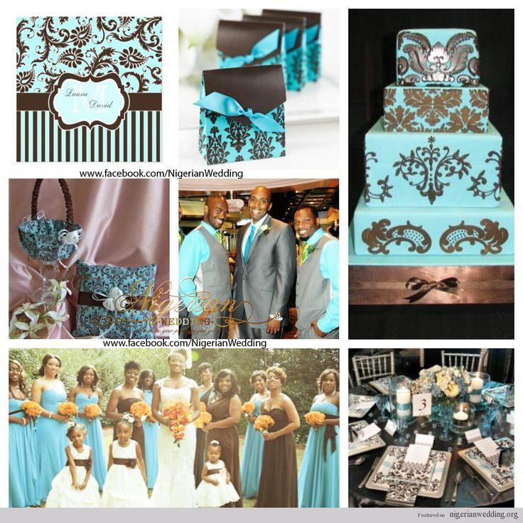 nigerian wedding aqua blue and brown damask wedding color scheme