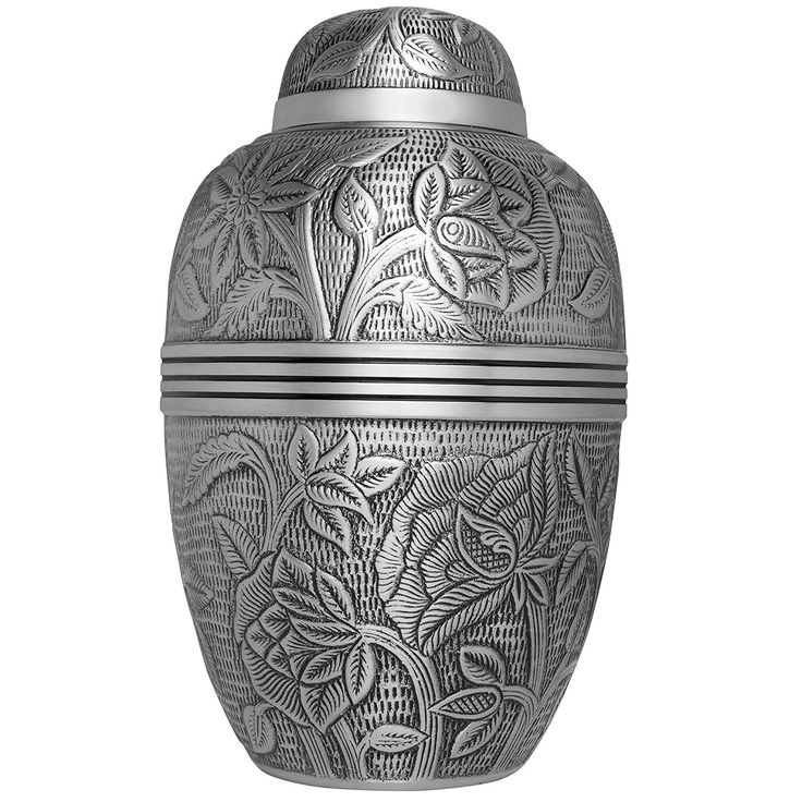 Funeral Urn by Liliane - Cremation Urn for Human Ashes - Hand Made in Brass and Hand Engraved - Fits the Cremated Remains of Adults - Display Burial Urn at Home or in Niche at Columbarium - Argent Model (Pewter, Large) *** Trust me, this is great! Click the image. : Home Decorative Accessories