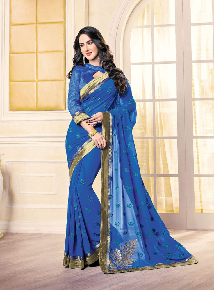 Blue Georgette Saree With Blouse 85449