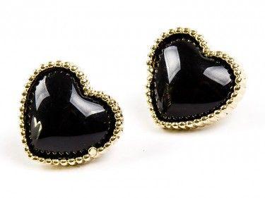 Kolczyki serca czarne