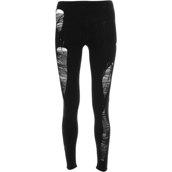 Laddered leggings (£290) ❤ liked on Polyvore featuring pants, leggings, bottoms, jeans, tights, trousers, maison martin margiela, legging pants, elastic waistband pants and grunge pants