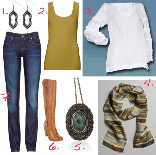 1. Samantha Wills earrings $59 | 2. Witchery tank (on sale $19.95) | 3. All for Kat shirt $139 | 4. Nancybird scarf $49 | 5. Samantha Wills necklace $115 | 6. RMK boots $219.95 | 7. Mavi jeans $149.95