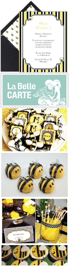 Bee Party for Children - Ideas, inspiration, cupcakes, cake pops and virtual bee invitations - Ideas para fiesta para niños de abeja e invitaciones virtuales - La Belle Carte