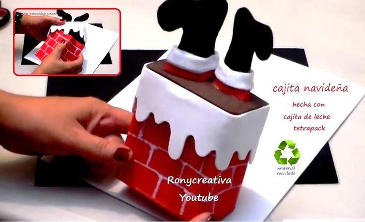 Cajitas de regalo o bomboneras para Navidad con cajas recicladas de leche o jugo