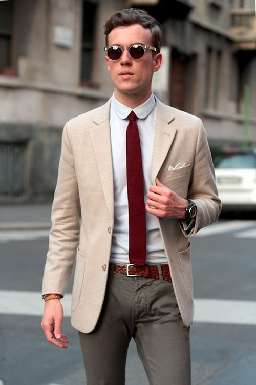 Red wine on a tie is OK when it's a fab colour...combined with club-collared shirt and sand jacket #fbloggers