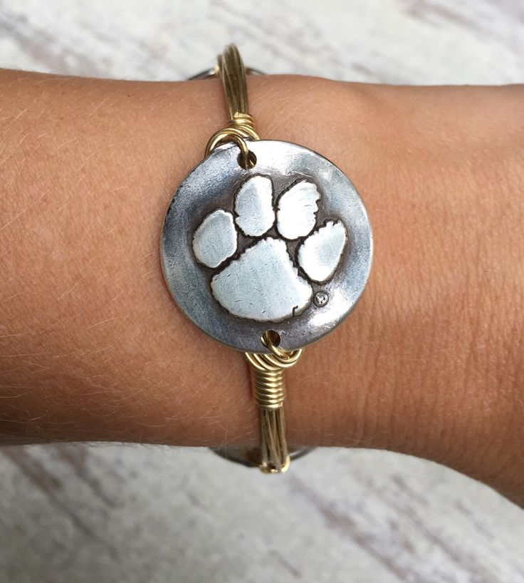 Clemson Tiger Paw Wire Wrapped Bangle Bracelet Gameday Jewelry Football Jewelry by luluandlarue on Etsy https://www.etsy.com/listing/250767764/clemson-tiger-paw-wire-wrapped-bangle