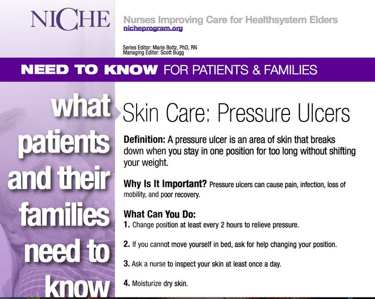 pressure ulcers and patients over the age Age: at the extremes of age, patients may be at higher risk for the development of pressure ulcers due to inability to move/change position independently very young infants are unable to change position by themselves the elderly may be similarly unable to change position due to other health problems limiting movement.