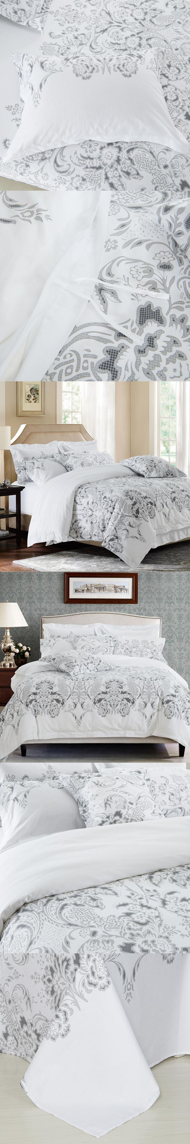 floral leaf print bed linen white color hotel bedding set twin queen king size bedclothes modern
