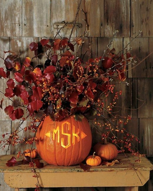 Creative jack-o-lantern idea: Monogram carving: Pumpkin Ideas, Fall Leaves, Decor Ideas, Monograms Pumpkin, Fall Decor, Pumpkin Vase, Diy Craft, Martha Stewart, Fall Wedding