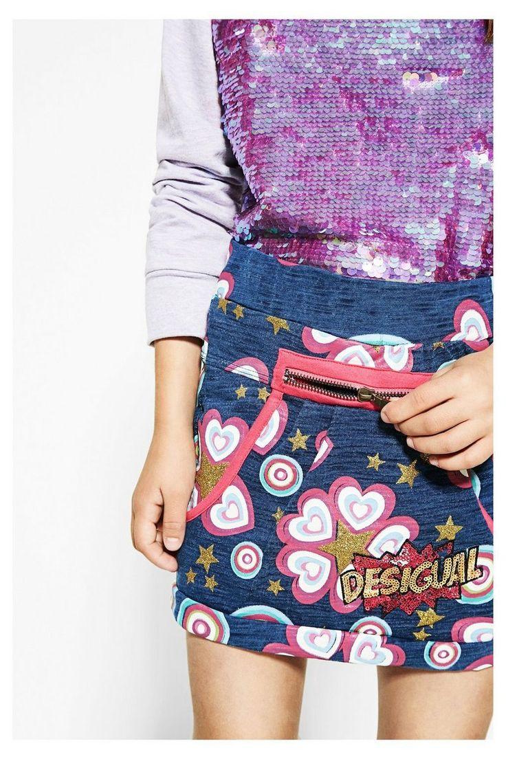 Falda Desigual azul con purpurina Gelida #circulogpr #desigual #fashion #modainfantil