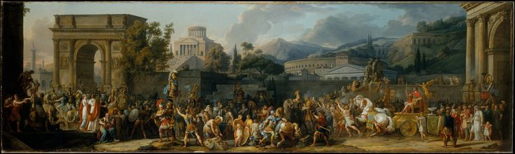 The Triumph of Aemilius Paulus - Carle (Antoine Charles Horace) Vernet (French, Bordeaux 1758–1836 Paris) - Date: 1789 - The procession celebrates the victory of the Roman general, Aemilius Paulus, over King Perseus of Macedonia in 168 B.C. Aemilius Paulus rides in triumph on the gold chariot to the right followed by prisoners, among whom is Perseus with his family. The temple of Jupiter Capitolinus with its hundred steps dominates the background.