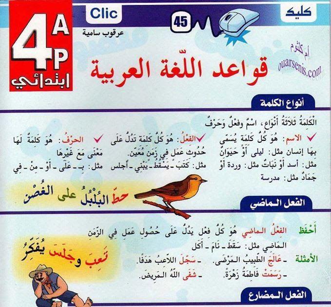 قواعد اللغة العربية مطوية كليك السنة الرابعة ابتدائي الجيل الثاني Teach Arabic Grammar Education