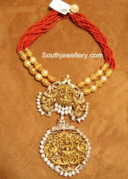 two step ganesh ;lakshmi temple pendant