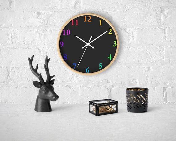Black Wall Clock Modern Wall Decor Minimalist Clock With Etsy In 2020 Wall Clock Modern Minimalist Clocks Black Wall Clock