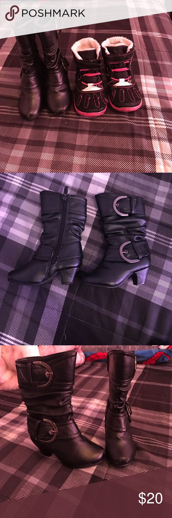 Toddler girl boots Both toddler girl boots sz 5 a little peeling on the toe area on tall black ones but other than that good condition and super cute Shoes Boots