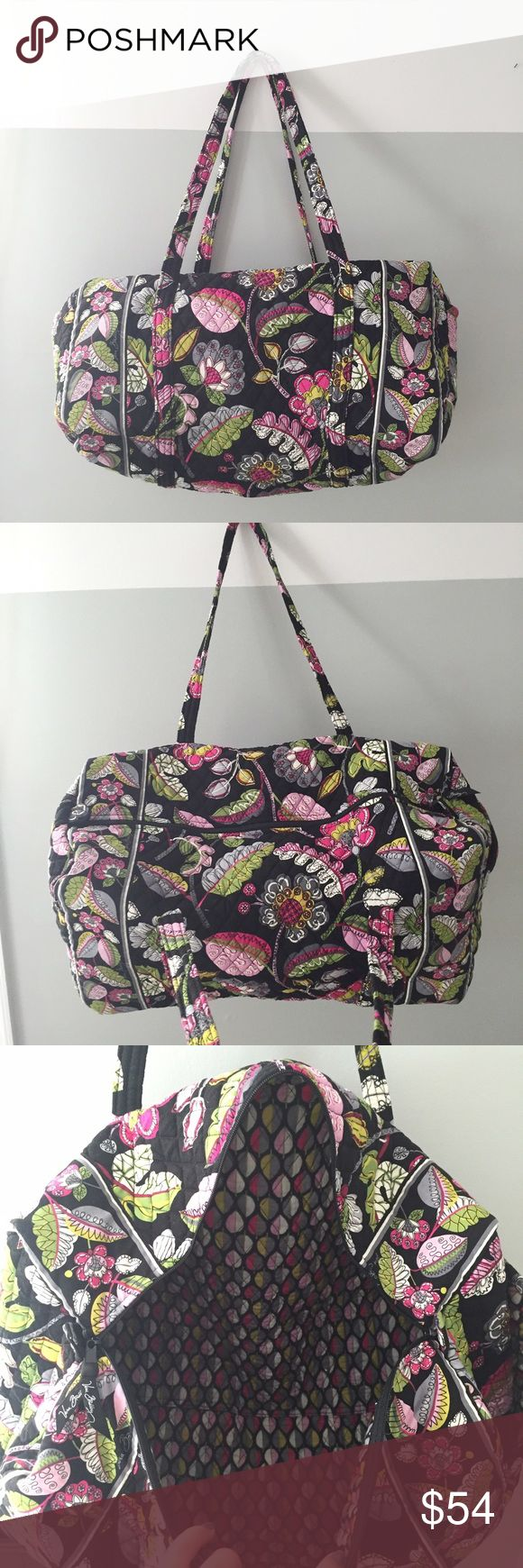 Vera Bradley duffle large new w/o tags Never used!! New without tags large Vera Bradley duffel bag. Got as gift but already had one! Great bag for travel ☺️ black with colorful floral pattern Vera Bradley Bags Travel Bags