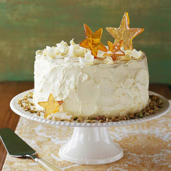Pistachio Cake with White Chocolate Buttercream | Holiday elegance!