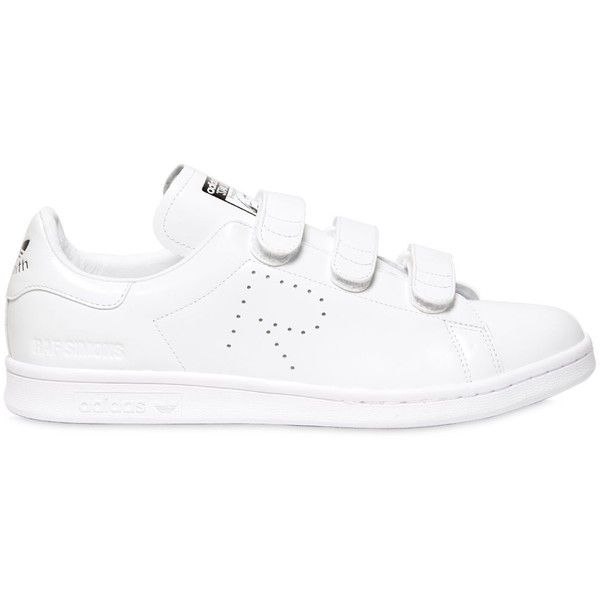 Adidas By Raf Simons Men Stan Smith Leather Strap Sneakers ($300) ❤ liked on Polyvore featuring men's fashion, men's shoes, men's sneakers, white, adidas mens shoes, mens monk strap shoes, mens white shoes, adidas mens sneakers and mens shoes