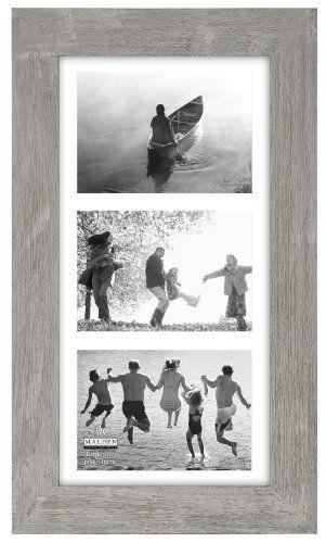 Malden International Designs Manhattan Distressed Mat Picture Frame, 3 Option, 3-5x7 , Gray