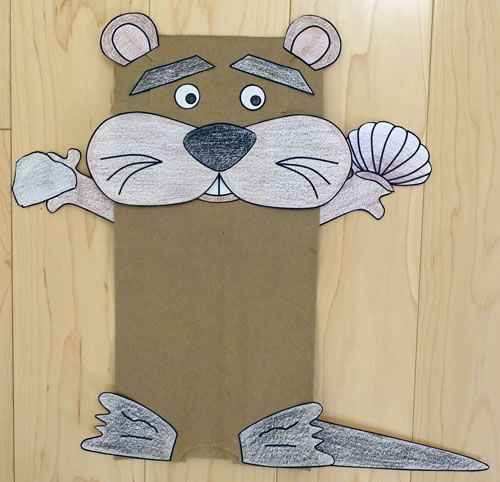 Paper bag otter craft baby sitting pinterest otters for Paper plate puppets templates