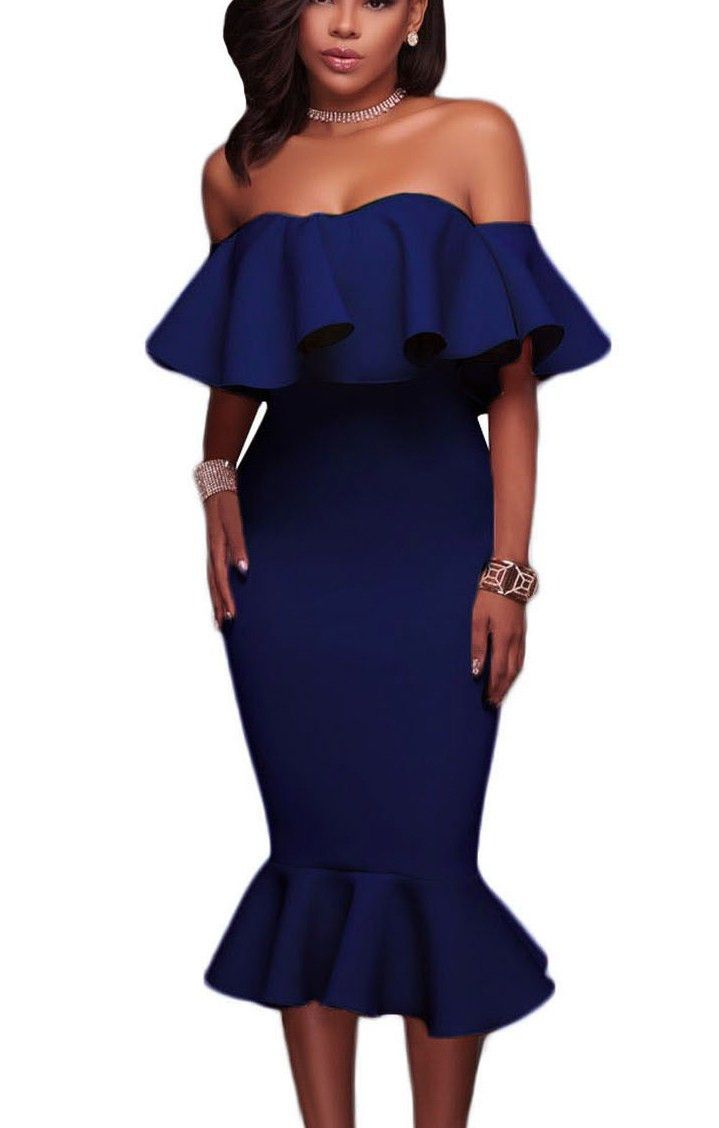 Blue Ruffle Off The Shoulder Trumpet Midi Party Dress https://www.modeshe.com #modeshe @modeshe #Blue