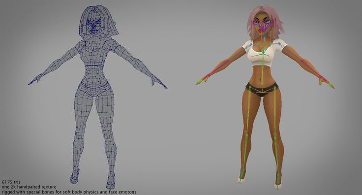 Made by Boris Chuprin.  Lowpoly character toonGirl for Unity Asset Store. Fully rigged with special bones for soft body physics and face emotions.