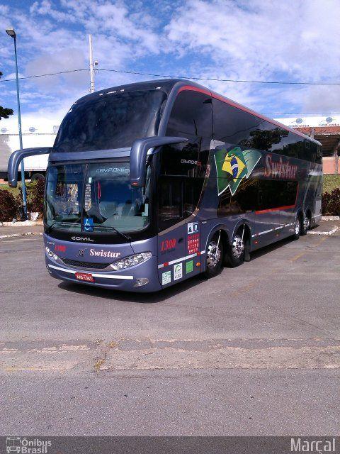 Ônibus da empresa Swistur Passagens e Turismo, carro 1300, carroceria Comil Campione DD, chassi Volvo B420R. Foto na cidade de Poços de Caldas-MG por Marçal, publicada em 25/01/2014 10:22:04.