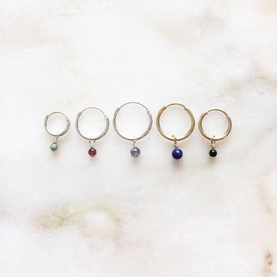 Smooth pebble gemstone earrings | Handmade jewellery | 14k gold filled & sterling silver