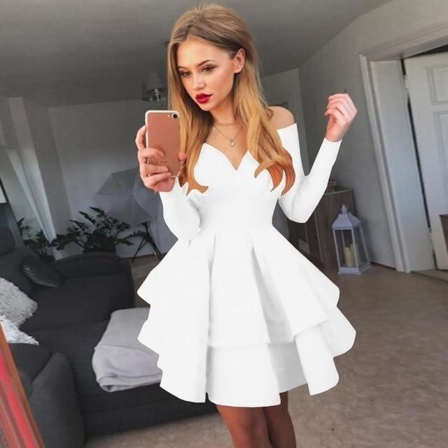 Mode frauen sommerkleid niedlich schulterfrei langarm kleid feminin sexy v-ausschnitt reine farbe partykleid