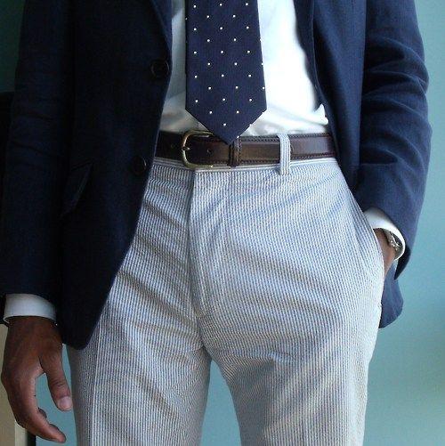 Seersucker pants, blue blazer, white shirt, dotted tie.  #men #fashion #style