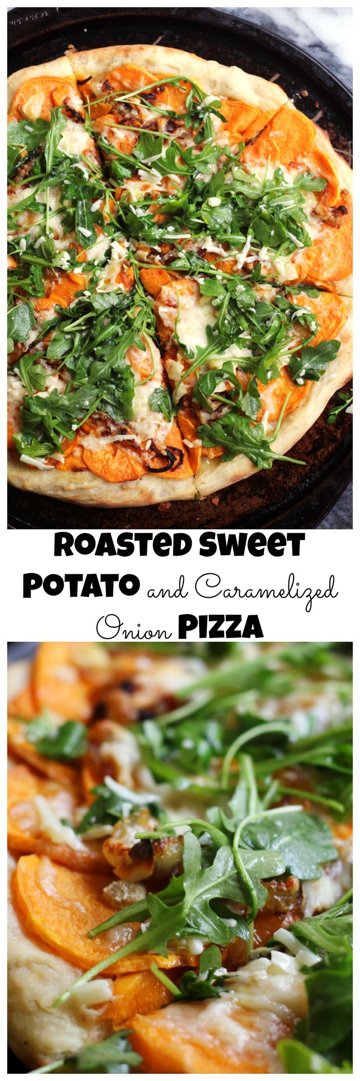 Sweet potatoes and caramelized onions top this one of a kind pizza that gets a dose of fresh flavor from a lemony arugula salad