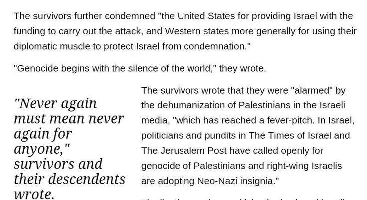 225 ebrei sopravvissuti all'Olocausto condannano massacro e disumanizzazione dei palestinesi. #Gaza #StayHuman